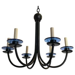 Pair of Midcentury Iron Chandeliers, Sold Individually