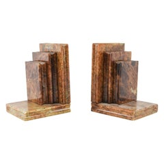 Pair of Midcentury Italian Alabaster Stacked-Book Bookends, Manner of Noymer