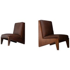 Pair of Midcentury Italian Armchairs Attributed to BBPR in Walnut and Leather