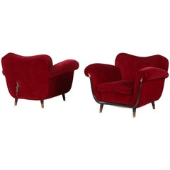 Pair of Midcentury Italian Armchairs Attributed to Guglielmo Ulrich, from 1950s