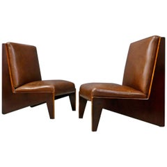 Pair of Midcentury Italian Armchairs Attributed to Lina Bo Bardi in Walnut 1950s
