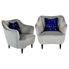 Pair of Midcentury Italian Armchairs in Silver Velvet