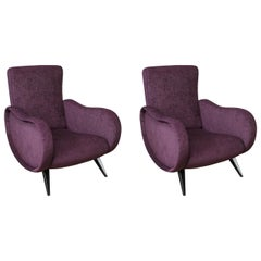Pair of Midcentury Italian Armchairs in the Style of Marco Zanuso Refinished