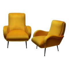 Pair of Midcentury Italian Armchairs in Yellow Velvet