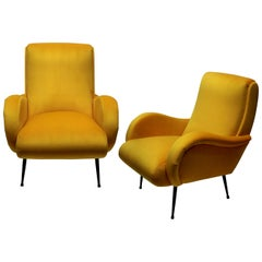 Pair of Midcentury Italian Armchairs in Yellow Velvet