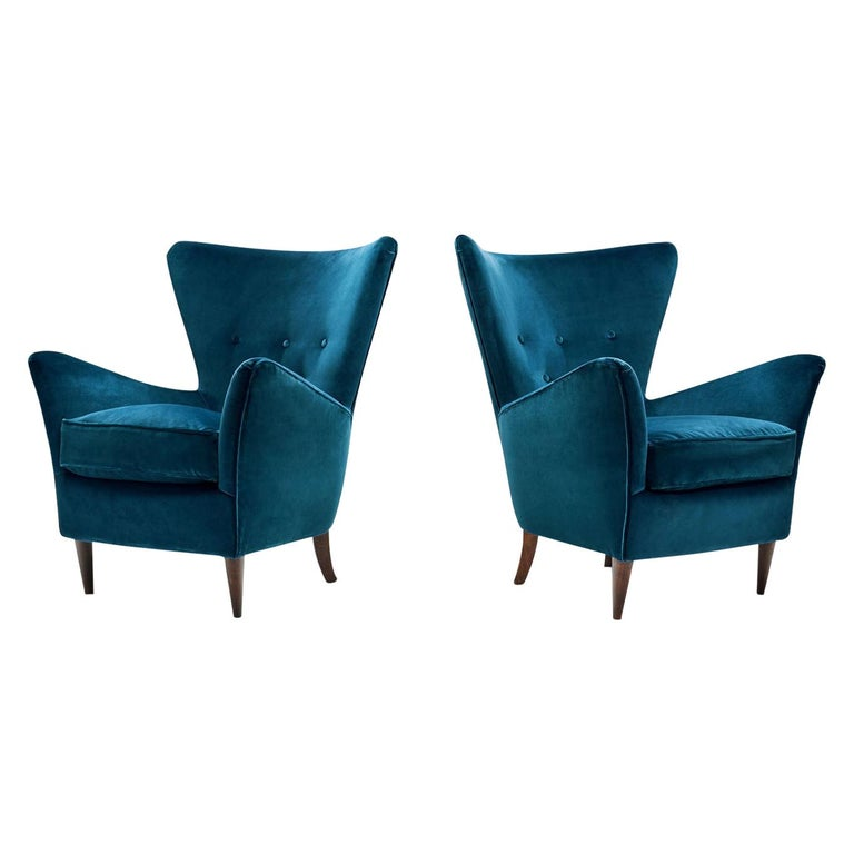 Pair of Midcentury Italian Armchairs, Italy, 1950s For Sale