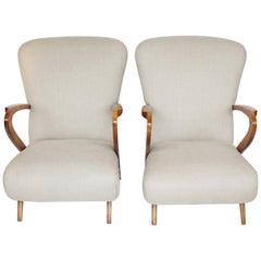 Pair of Midcentury Italian Armchairs, Solid Walnut, circa 1950