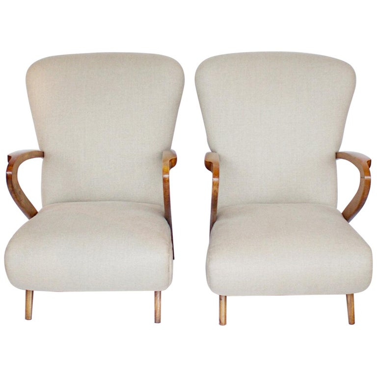 Pair of Midcentury Italian Armchairs, Solid Walnut, circa 1950 For Sale