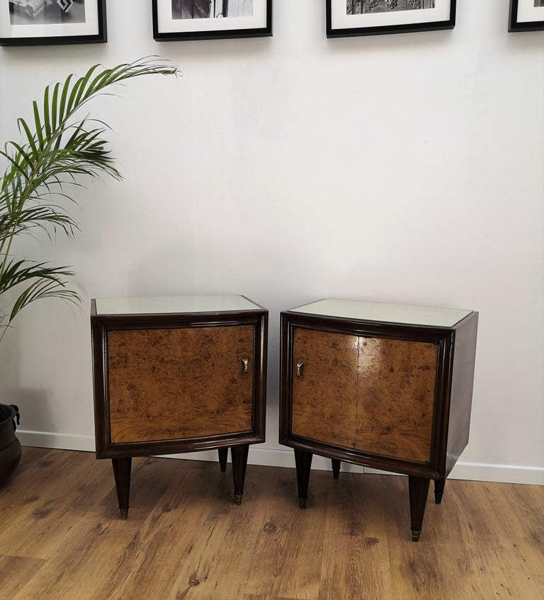 Pair of Midcentury Italian Art Deco Bedside Tables, Briar Wood and Mirror Top For Sale 5