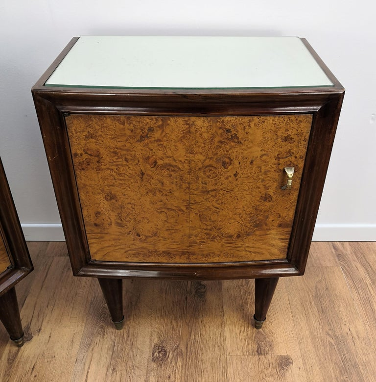 Pair of Midcentury Italian Art Deco Bedside Tables, Briar Wood and Mirror Top For Sale 2