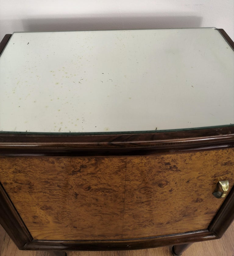 Pair of Midcentury Italian Art Deco Bedside Tables, Briar Wood and Mirror Top For Sale 4