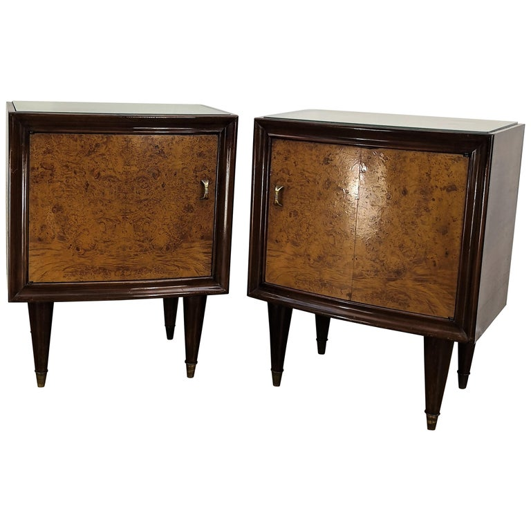 Pair of Midcentury Italian Art Deco Bedside Tables, Briar Wood and Mirror Top For Sale