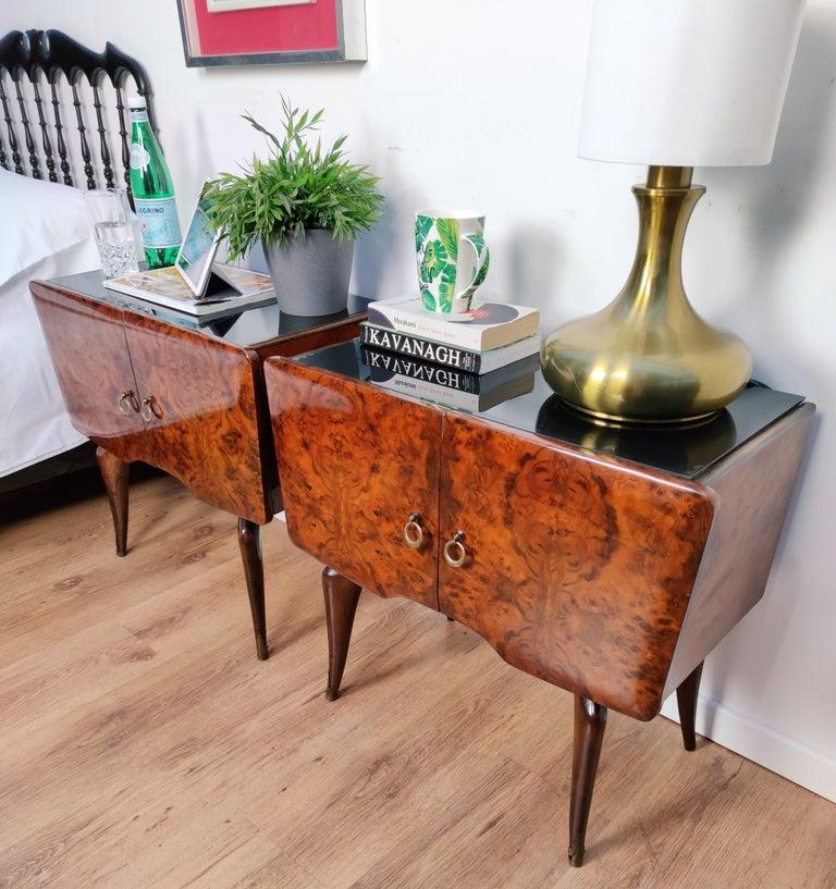 Pair of Midcentury Italian Art Deco Nightstands Bedside Tables Burl Brass Glass For Sale 3