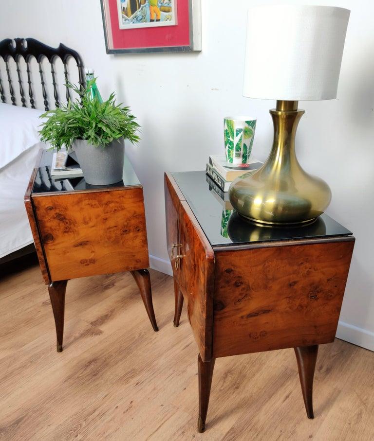 Pair of Midcentury Italian Art Deco Nightstands Bedside Tables Burl Brass Glass For Sale 4