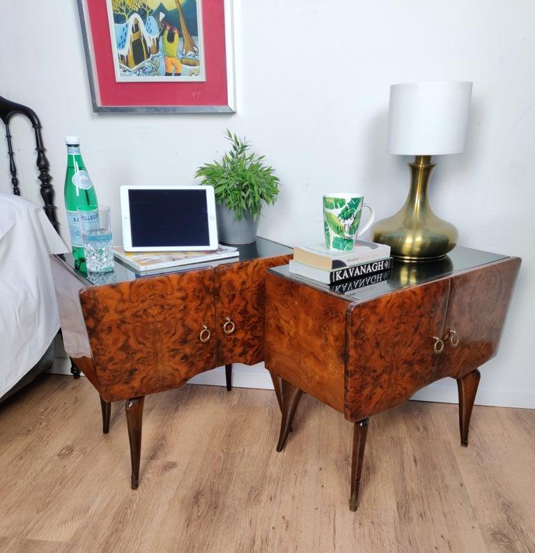 Pair of Midcentury Italian Art Deco Nightstands Bedside Tables Burl Brass Glass For Sale 5