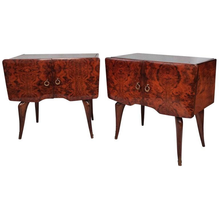 Pair of Midcentury Italian Art Deco Nightstands Bedside Tables Burl Brass Glass For Sale