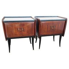 Pair of Midcentury Italian Art Deco Nightstands Bedside Tables Glass Top
