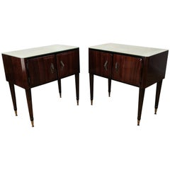 Pair of Midcentury Italian Art Deco Nightstands Bedside Tables Marble Glass Top