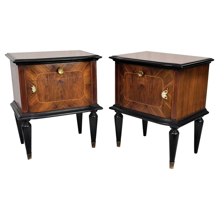 Pair of Midcentury Italian Art Deco Nightstands Bedside Tables Wood Brass Glass For Sale