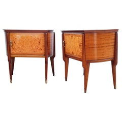 Pair of Midcentury Italian Art Deco Wood & Glass Nightstands Bedside Tables