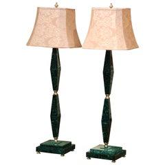 Pair of Midcentury Italian Art Moderne Malachite and Gilt Bronze Floor Lamps