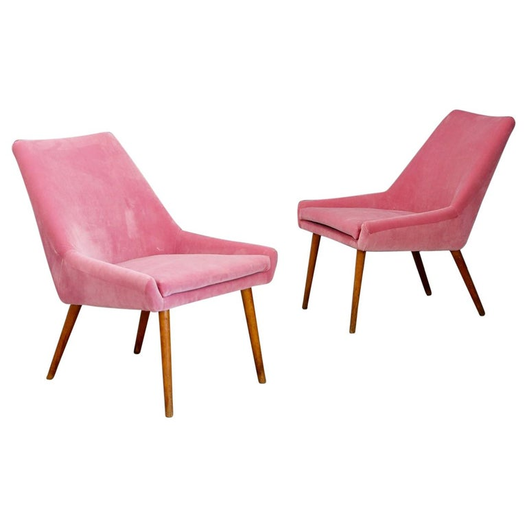 Pair of Midcentury Italian Attributed by Carlo Pagani in Pink Velvet, 1950s For Sale