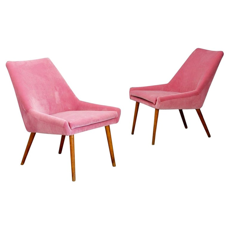 Pair of Midcentury Italian Attributed by Carlo Pagani in Pink Velvet, 1950s