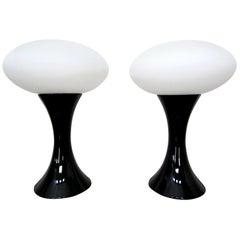 Pair of Midcentury Italian Black Ceramic and Porcelain Table Lamps