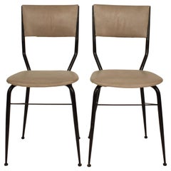 Pair of Midcentury Italian Black Metal and Grey Leather Dining Chairs, 1950
