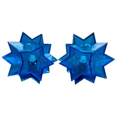 Pair of Midcentury Italian Blue Acrylic Perspex Star Shaped Table Lamps