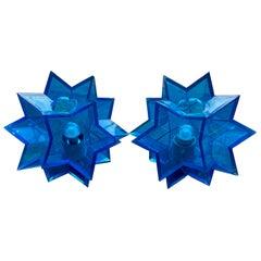 Pair of Midcentury Italian Blue Acrylic Perspex Star Shaped Table Lights