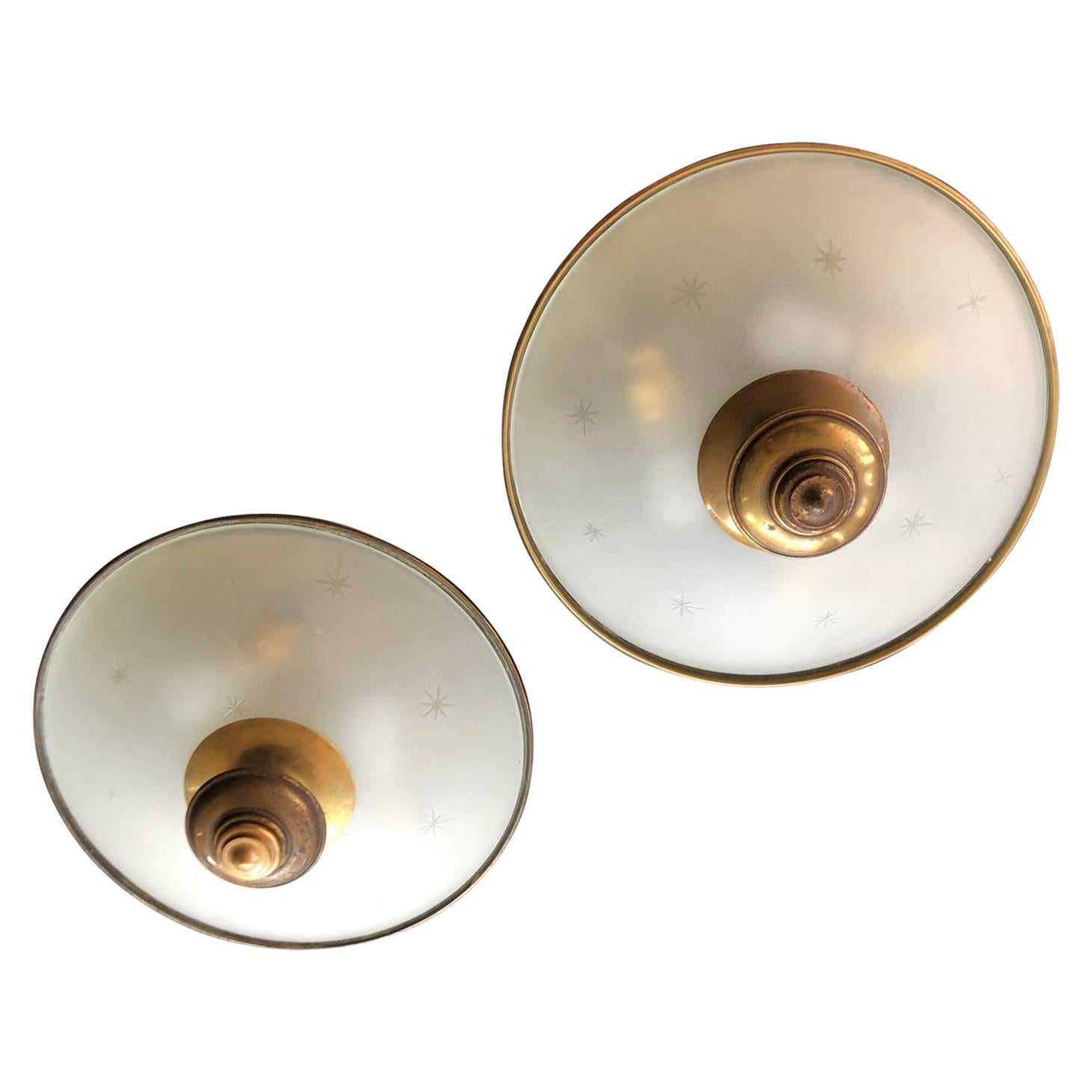 Pair of Midcentury Italian Brass and Glass Ceiling or Wall Lights or Sconces