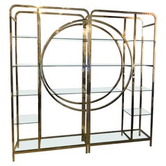 Pair of Midcentury Italian Brass and Glass Shelving Units