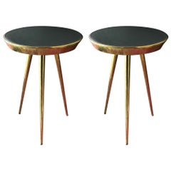 Pair of Midcentury Italian Brass and Grey Glass Side Tables