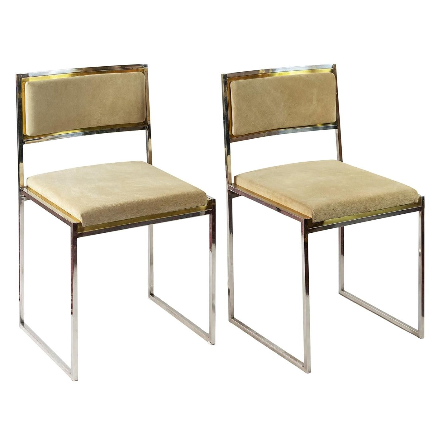 Pair of Midcentury Italian Brass and Suede Chairs by Willy Rizzo