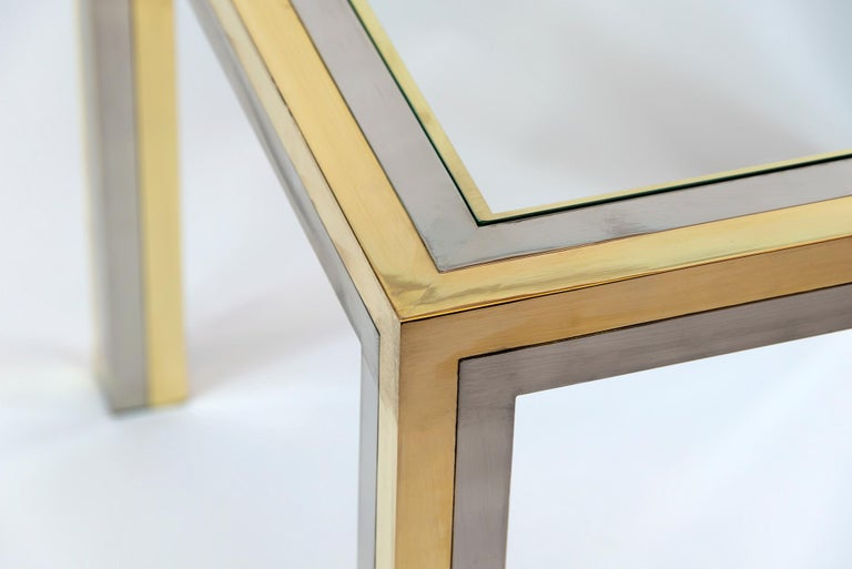 Mid-Century Modern Pair of Midcentury Italian Brass, Chrome and Glass Top Side Tables by Romeo Rega For Sale