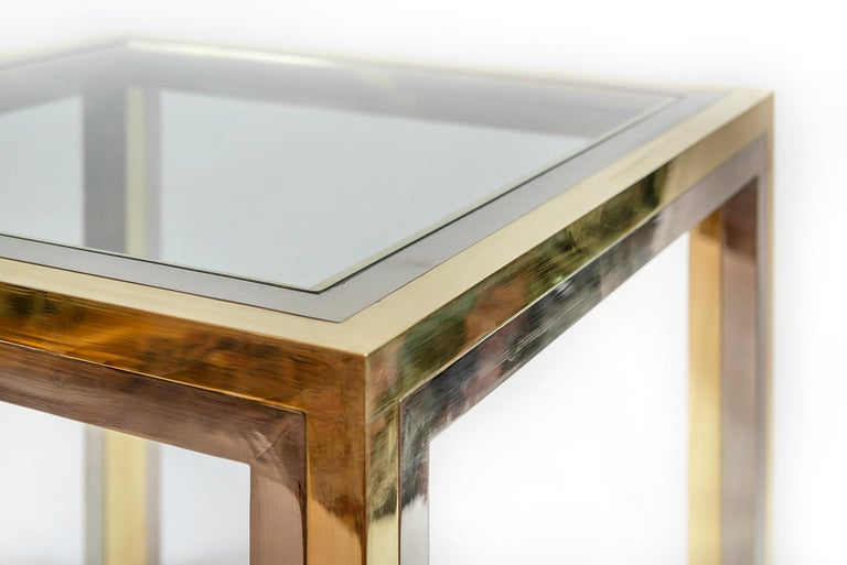 Pair of Midcentury Italian Brass, Chrome and Glass Top Side Tables by Romeo Rega In Good Condition For Sale In Vilnius, LT