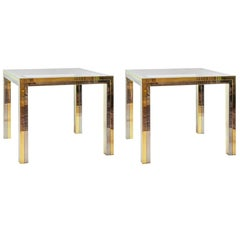 Pair of Midcentury Italian Brass, Chrome and Glass Top Side Tables by Romeo Rega