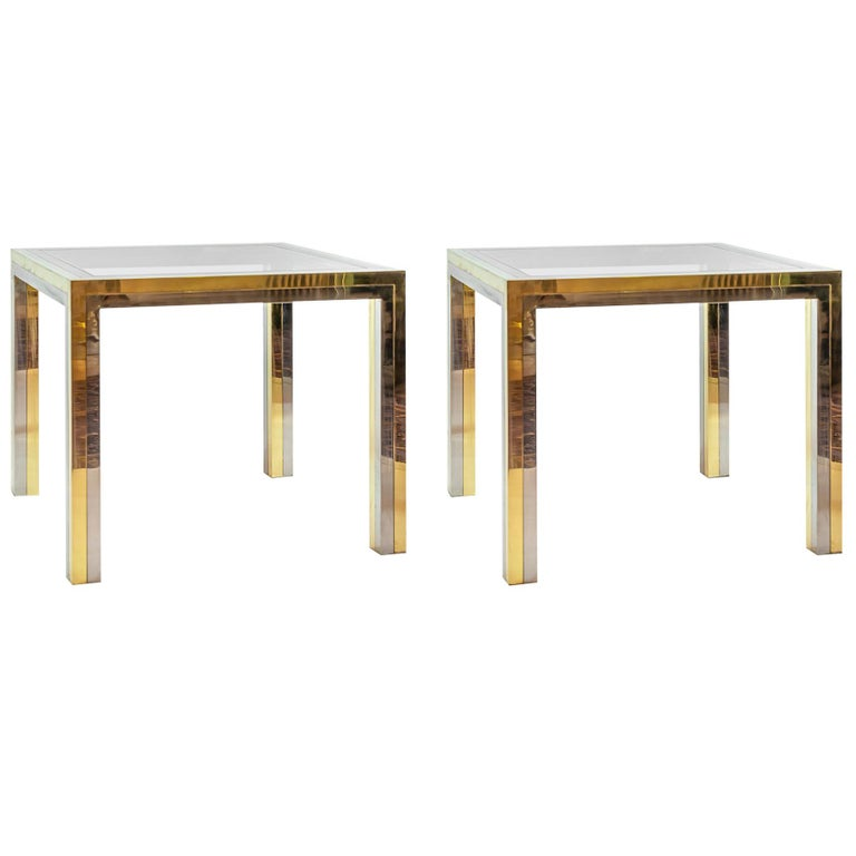 Pair of Midcentury Italian Brass, Chrome and Glass Top Side Tables by Romeo Rega For Sale