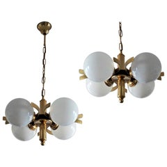 Pair of Midcentury Italian Brass Hand Blown Opaline Glass Chandeliers, Pendants