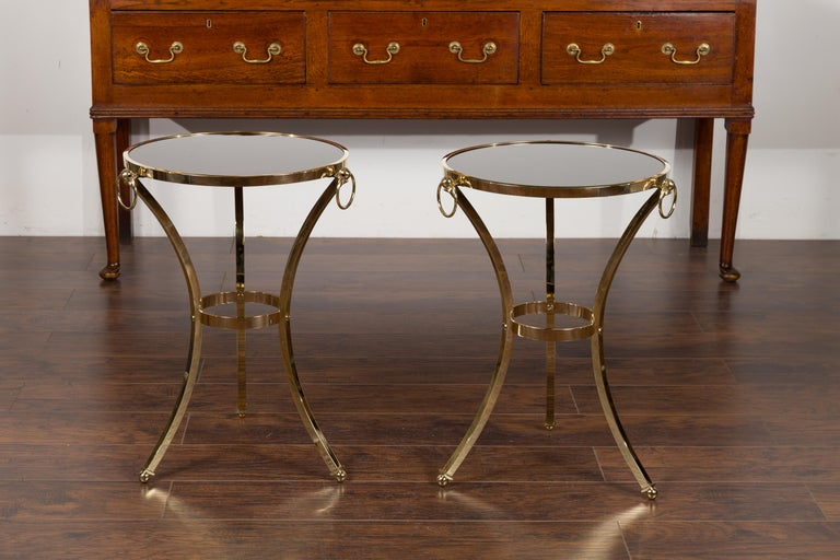 Pair of Midcentury Italian Brass Tables with Black Mirrored Tops and Ring Motifs For Sale 5