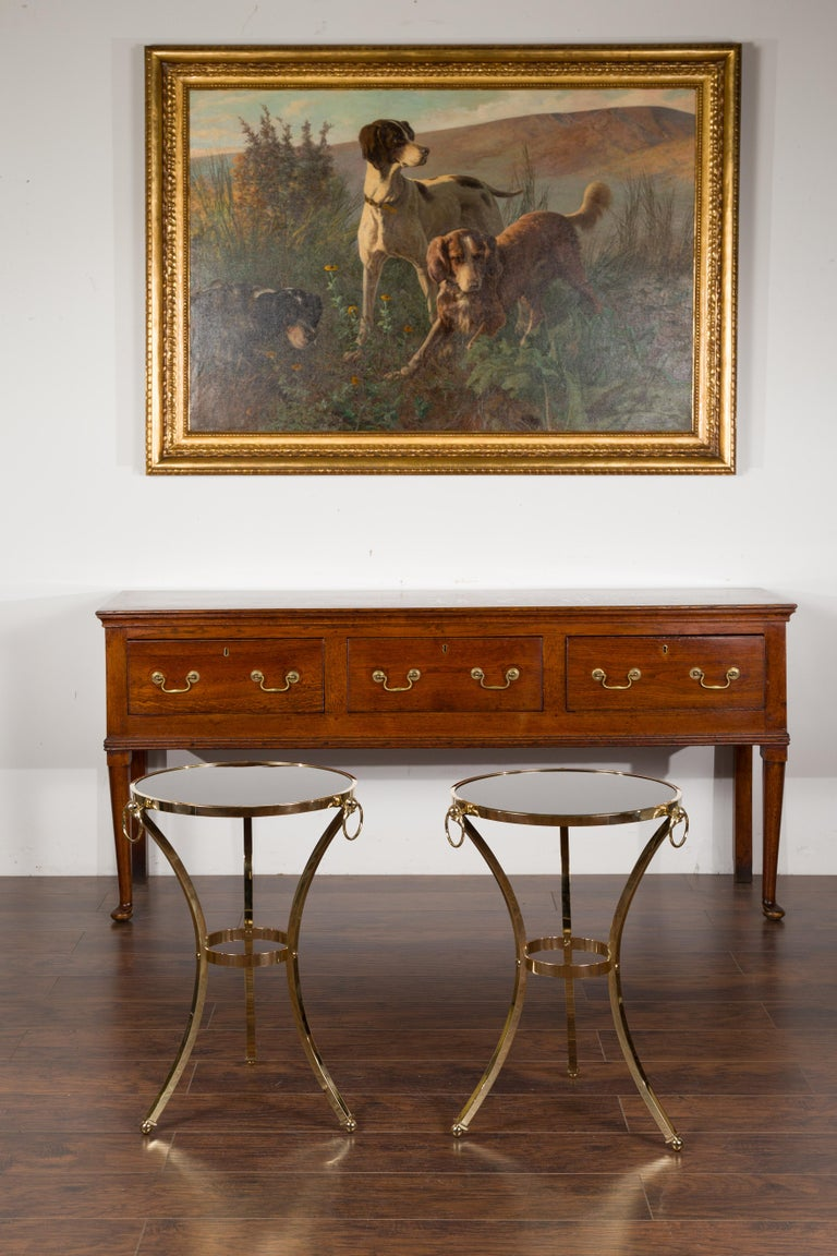 Pair of Midcentury Italian Brass Tables with Black Mirrored Tops and Ring Motifs For Sale 6
