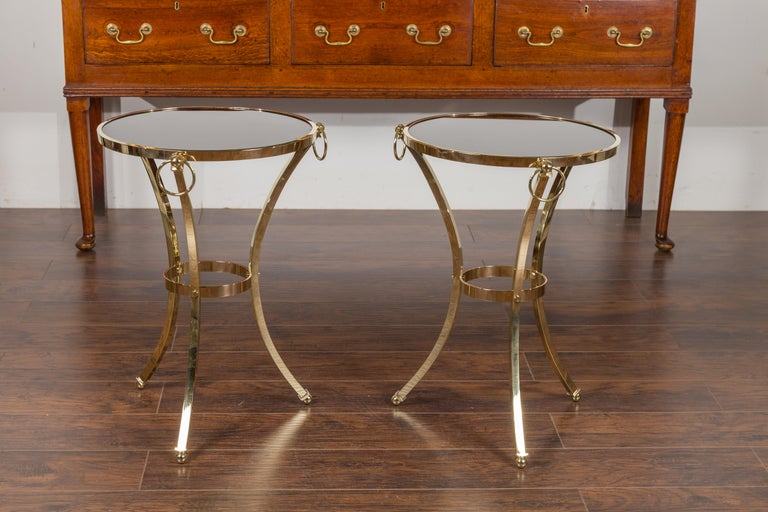 Pair of Midcentury Italian Brass Tables with Black Mirrored Tops and Ring Motifs For Sale 8