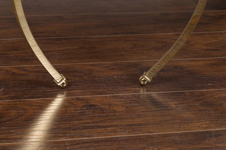 Pair of Midcentury Italian Brass Tables with Black Mirrored Tops and Ring Motifs For Sale 9