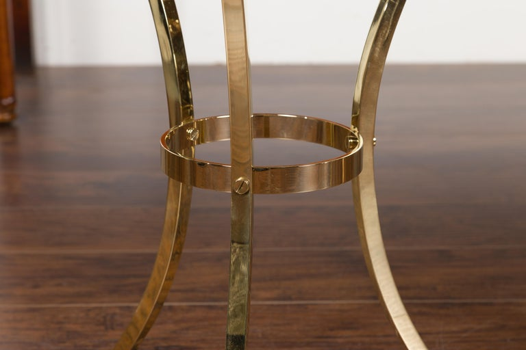 Pair of Midcentury Italian Brass Tables with Black Mirrored Tops and Ring Motifs For Sale 11