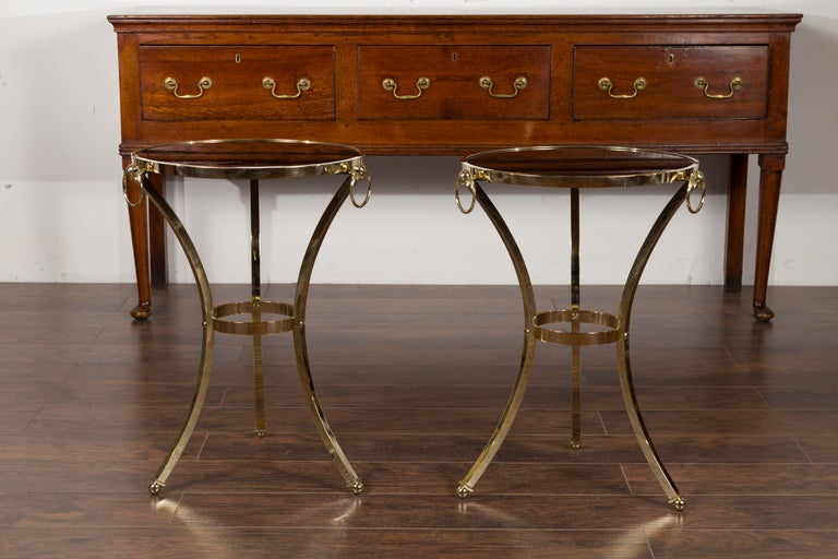 Pair of Midcentury Italian Brass Tables with Black Mirrored Tops and Ring Motifs In Good Condition For Sale In Atlanta, GA