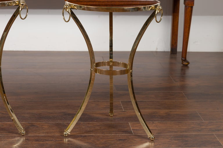 Pair of Midcentury Italian Brass Tables with Black Mirrored Tops and Ring Motifs For Sale 2