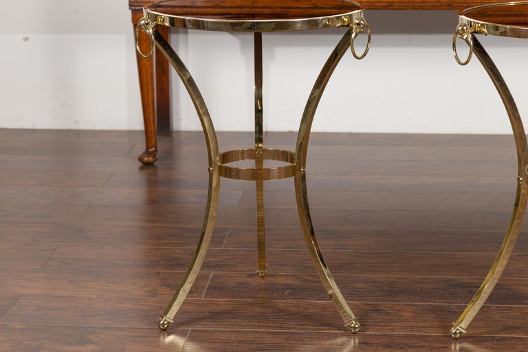Pair of Midcentury Italian Brass Tables with Black Mirrored Tops and Ring Motifs For Sale 3