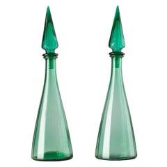Pair of Midcentury Italian Cast Glass Green Decanters, circa 1960