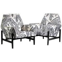 Pair of Midcentury Italian Chairs Upholstered in Dedar Fabric